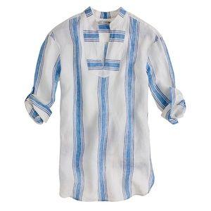 j. crew striped linen tunic